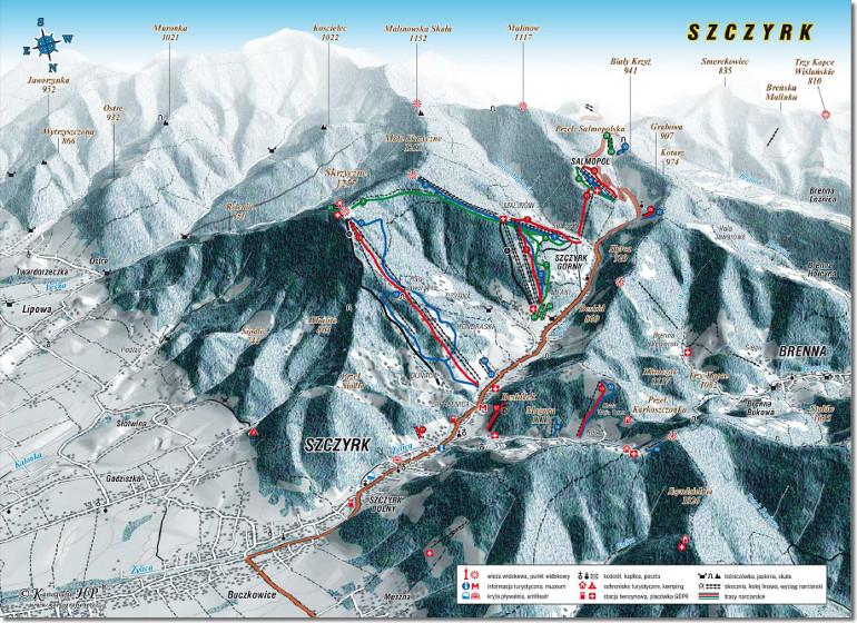 Szczyrk - mapa tras narciarskich