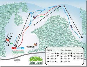 Dolina Leśnicy - mapa tras narciarskich